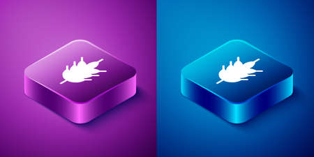 Isometric Hop icon isolated on blue and purple background. Square button. Vector Illustration  イラスト・ベクター素材