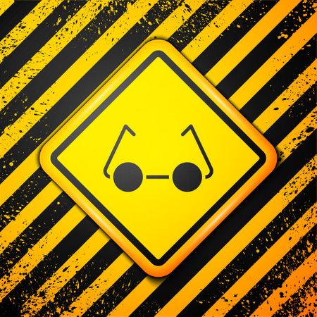 Black Glasses icon isolated on yellow background. Eyeglass frame symbol. Warning sign. Vector Illustration  イラスト・ベクター素材