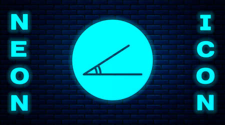 Glowing neon Acute angle of 45 degrees icon isolated on brick wall background. Vector Illustration