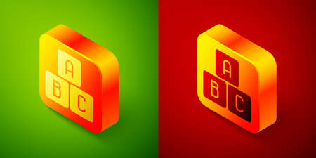 Isometric ABC blocks icon isolated on green and red background. Alphabet cubes with letters A,B,C. Square button. Vector Illustration  イラスト・ベクター素材