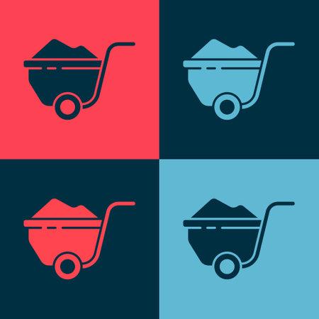 Pop art Wheelbarrow with dirt icon isolated on color background. Tool equipment. Agriculture cart wheel farm. Vector Illustration