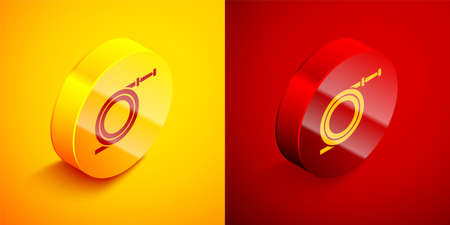Isometric Garden hose or fire hose icon isolated on orange and red background. Spray gun icon. Watering equipment. Circle button. Vector Illustration