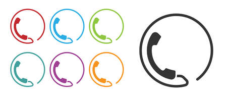 Black Telephone 24 hours support icon isolated on white background. All-day customer support call-center. Full time call services. Set icons colorful. Vector Illustration  イラスト・ベクター素材