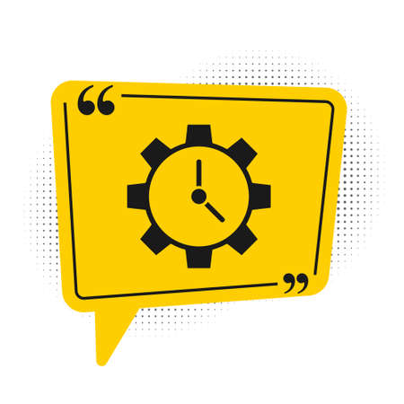Black Time Management icon isolated on white background. Clock and gear sign. Productivity symbol. Yellow speech bubble symbol. Vector Illustration