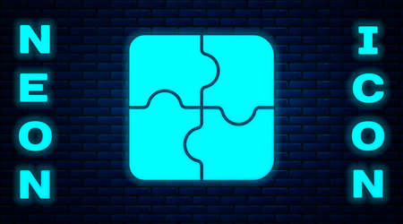 Glowing neon Piece of puzzle icon isolated on brick wall background. Business, marketing, finance, template, layout, infographics, internet concept. Vector Illustration