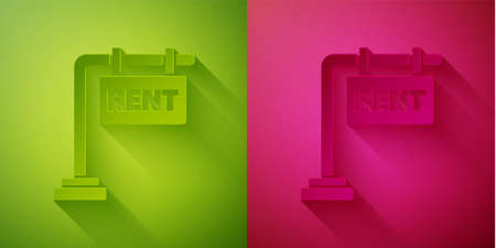 Paper cut Hanging sign with text Rent icon isolated on green and pink background. Signboard with text For Rent. Paper art style. Vector Illustration  イラスト・ベクター素材
