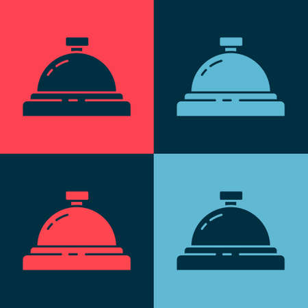 Pop art Hotel service bell icon isolated on color background. Reception bell. Vector Illustration