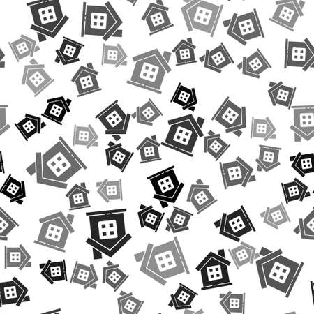 Black House icon isolated seamless pattern on white background. Home symbol. Vector Illustration  イラスト・ベクター素材