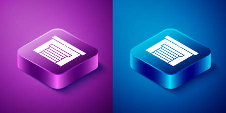 Isometric Garage icon isolated on blue and purple background. Square button. Vector Illustration