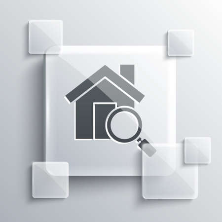 Grey Search house icon isolated on grey background. Real estate symbol of a house under magnifying glass. Square glass panels. Vector Illustration