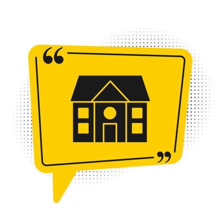 Black House icon isolated on white background. Home symbol. Yellow speech bubble symbol. Vector Illustration  イラスト・ベクター素材