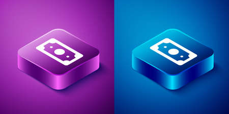 Isometric Stacks paper money cash icon isolated on blue and purple background. Money banknotes stacks. Bill currency. Square button. Vector Illustration