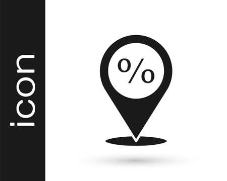 Grey Location with percent discount icon isolated on white background. Money location icon. Business and investment concept. Vector Illustration Ilustracja
