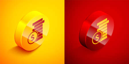 Isometric Coin money with dollar symbol icon isolated on orange and red background. Banking currency sign. Cash symbol. Circle button. Vector Illustration