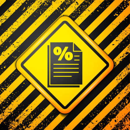 Black Finance document icon isolated on yellow background. Paper bank document for invoice or bill concept. Warning sign. Vector Illustration Ilustracja