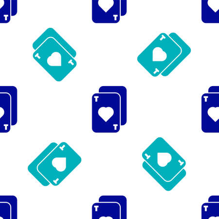 Blue Playing cards icon isolated seamless pattern on white background. Casino gambling. Vector Illustration  イラスト・ベクター素材