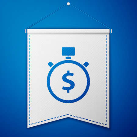 Blue Time is money icon isolated on blue background. Money is time. Effective time management. Convert time to money. Stopwatch. White pennant template. Vector Illustration