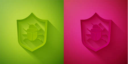 Paper cut System bug concept icon isolated on green and pink background. Code bug concept. Bug in the system. Bug searching. Paper art style. Vector