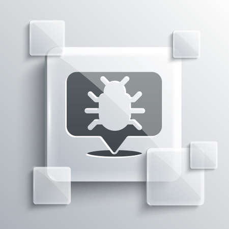 Grey System bug concept icon isolated on grey background. Code bug concept. Bug in the system. Bug searching. Square glass panels. Vector