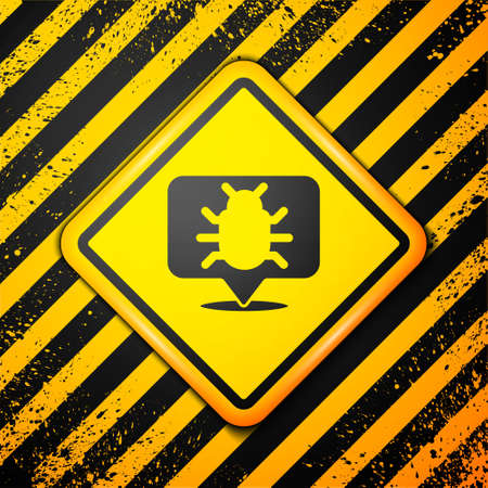 Black System bug concept icon isolated on yellow background. Code bug concept. Bug in the system. Bug searching. Warning sign. Vector Illustration
