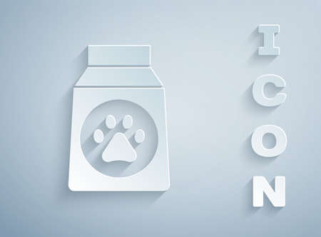 Paper cut Bag of food for dog icon isolated on grey background. Dog or cat paw print. Food for animals. Pet food package. Paper art style. Vector