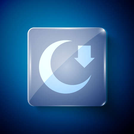 White Moon icon isolated on blue background. Square glass panels. Vector