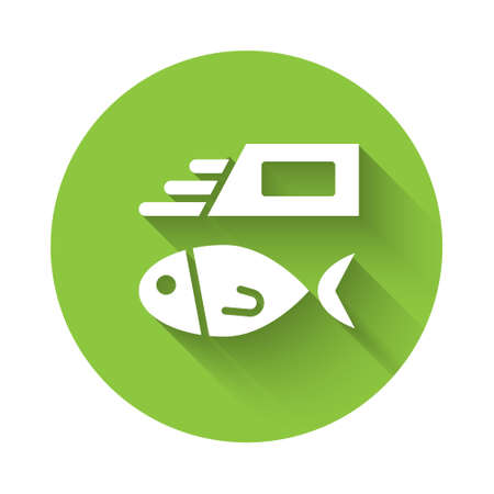 White Fish and chips icon isolated with long shadow. Green circle button. Vector Illustration