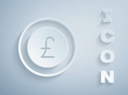 Paper cut Coin money with pound sterling symbol icon isolated on grey background. Banking currency sign. Cash symbol. Paper art style. Vector