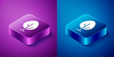 Isometric Tree icon isolated on blue and purple background. Forest symbol. Square button. Vector Çizim