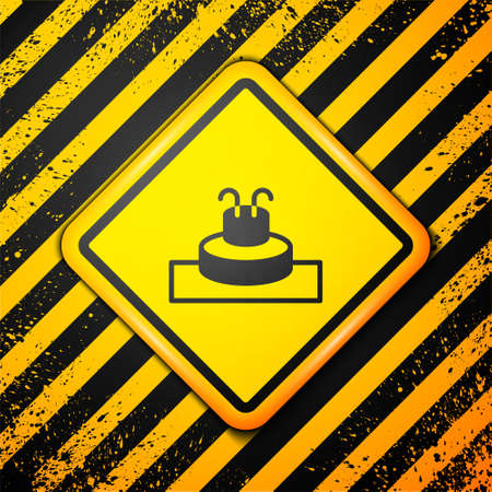Black Fountain icon isolated on yellow background. Warning sign. Vector Çizim