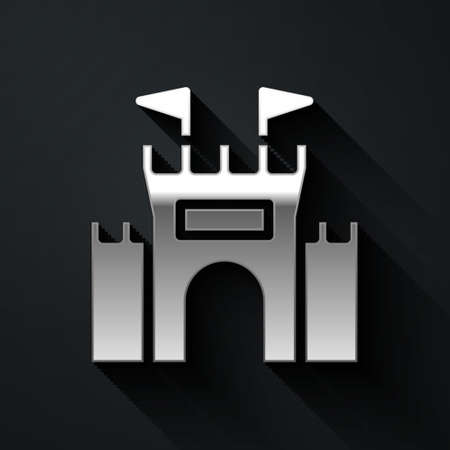 Silver Castle icon isolated on black background. Long shadow style. Vector