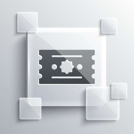 Grey Ticket icon isolated on grey background. Amusement park. Square glass panels. Vector Çizim
