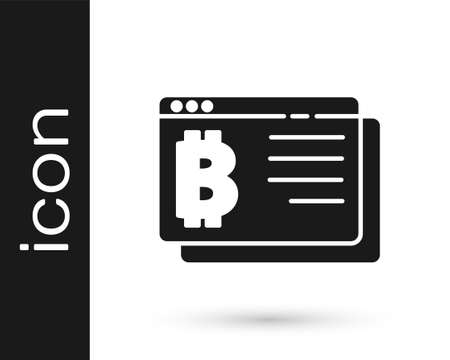 Black Cryptocurrency coin Bitcoin icon isolated on white background. Physical bit coin. Blockchain based secure crypto currency. Vector Ilustracja