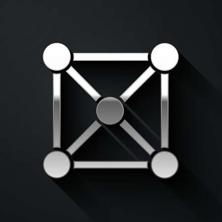 Silver Blockchain technology icon isolated on black background. Cryptocurrency data. Abstract geometric block chain network technology business. Long shadow style. Vector Ilustracja