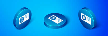 Isometric Credit card with bitcoin icon isolated on blue background. Online payment. Cash withdrawal. Modern method of payment. Blue circle button. Vector Ilustracja