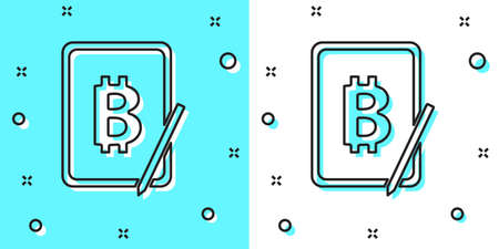 Black line Mining bitcoin from graphic tablet icon isolated on green and white background. Cryptocurrency mining, blockchain technology service. Random dynamic shapes. Vector