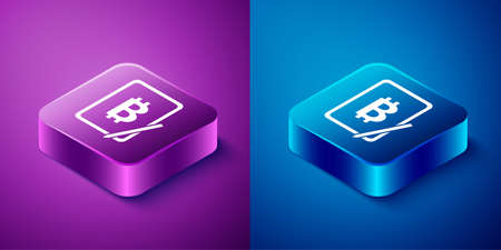Isometric Mining bitcoin from graphic tablet icon isolated on blue and purple background. Cryptocurrency mining, blockchain technology service. Square button. Vector Ilustrace