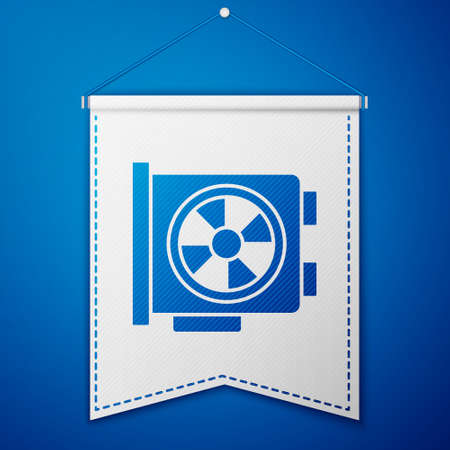 Blue Video graphic card icon isolated on blue background. White pennant template. Vector Ilustracja