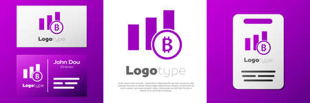 Logotype Pie chart infographic bitcoin icon isolated on white background. Diagram chart sign. Logo design template element. Vector