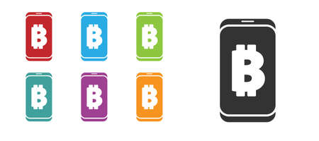 Black Mining bitcoin from mobile icon isolated on white background. Cryptocurrency mining, blockchain technology service. Set icons colorful. Vector Ilustracja