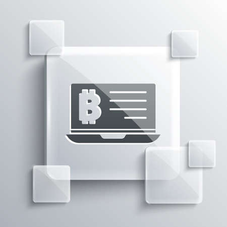 Grey Mining bitcoin from laptop icon isolated on grey background. Cryptocurrency mining, blockchain technology service. Square glass panels. Vector