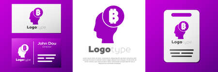 Logotype Bitcoin think icon isolated on white background. Cryptocurrency head. Blockchain technology, digital money market, cryptocoin wallet. Logo design template element. Vector
