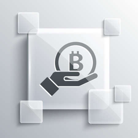 Grey Hand holding Bitcoin icon isolated on grey background. Blockchain technology, digital money market, cryptocoin wallet. Square glass panels. Vector Ilustracja