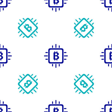 Blue CPU mining farm icon isolated seamless pattern on white background. Bitcoin sign inside processor. Cryptocurrency mining community. Digital money. Vector