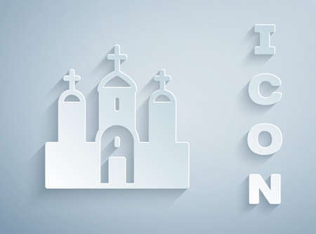 Paper cut Church building icon isolated on grey background. Christian Church. Religion of church. Paper art style. Vector Ilustracja