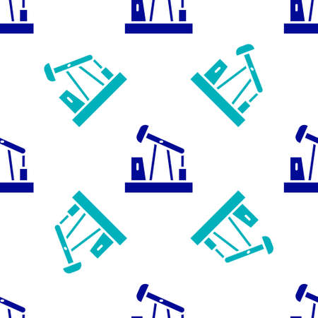 Blue Oil pump or pump jack icon isolated seamless pattern on white background. Oil rig. Vector