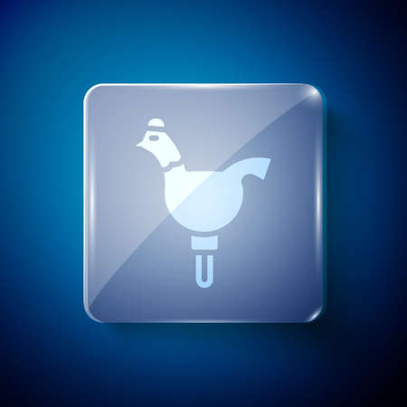 White Candy cockerel lollipop on a stick icon isolated on blue background. Square glass panels. Vector