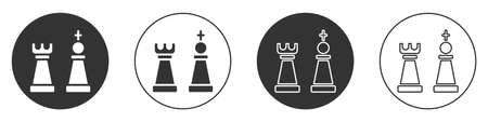 Black Chess icon isolated on white background. Business strategy. Game, management, finance. Circle button. Vector