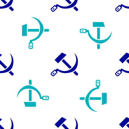 Blue Hammer and sickle USSR icon isolated seamless pattern on white background. Symbol Soviet Union. Vector