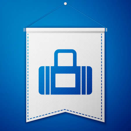 Blue Sport bag icon isolated on blue background. White pennant template. Vector Ilustracja